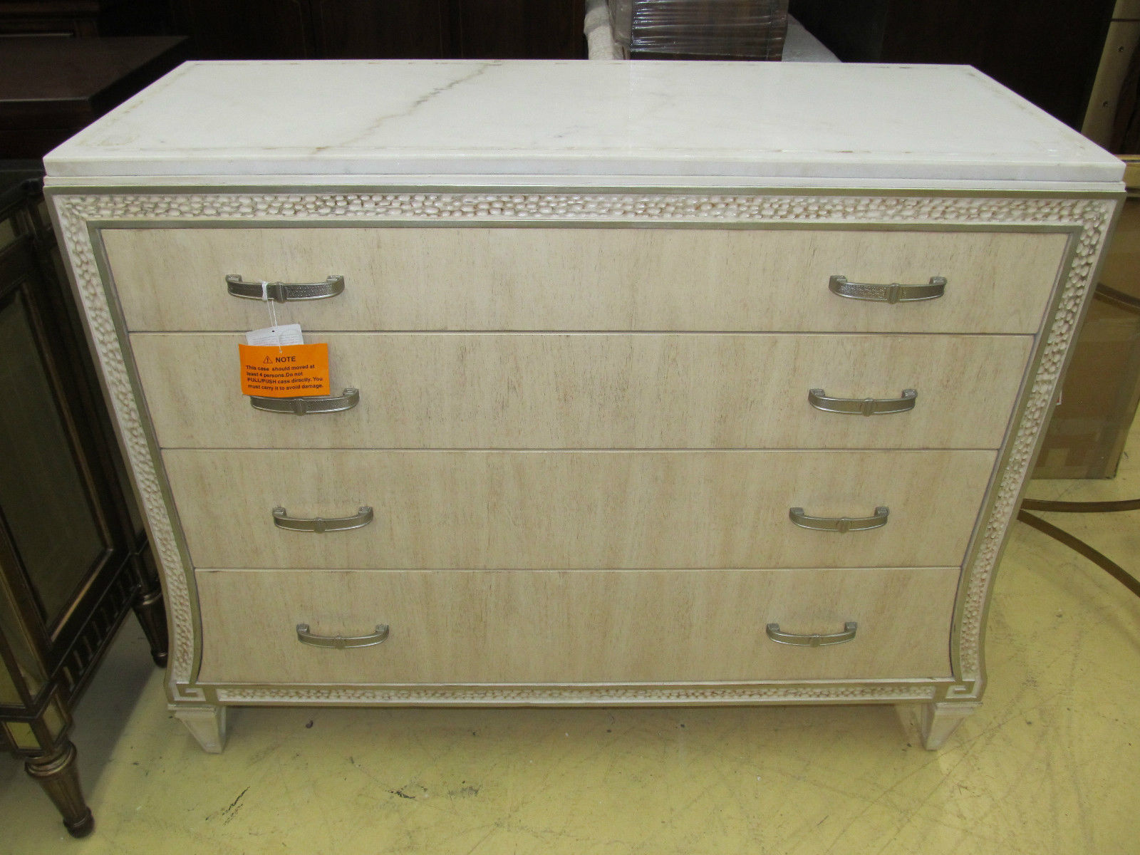 Schnadig Compositions Carleton White Marble Top TV Entertainment Chest Drawers