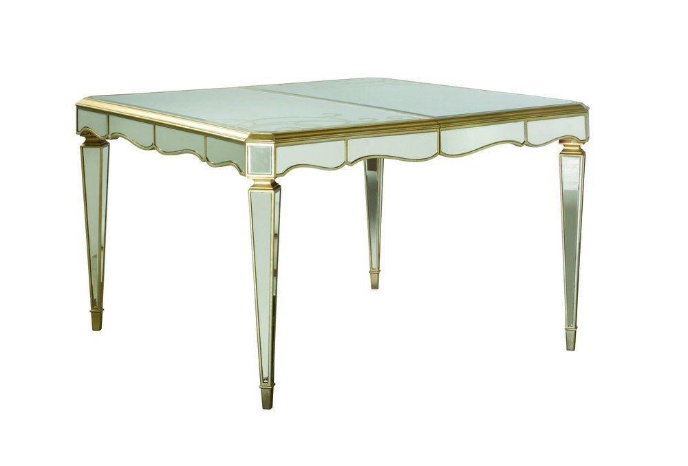American Drew Jessica McClintock Mirrored Silver Leaf Leg Dining Table 908-760