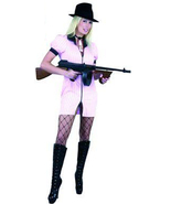 GANGSTER MOLL DBL ZIP DRESS PINK HALLOWEEN COSTUME ADULT SIZE X-LARGE 14-16 - $36.04