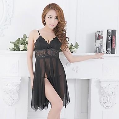 Woman's Nylon Spandex Babydoll and Slips Nightwear (#681318)