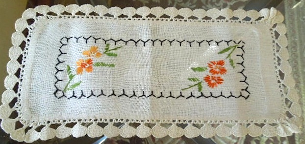 "Antique Doily - Hand Made Embroidered Linen  - Approximately 6"" x 11 1/2"" #6022"
