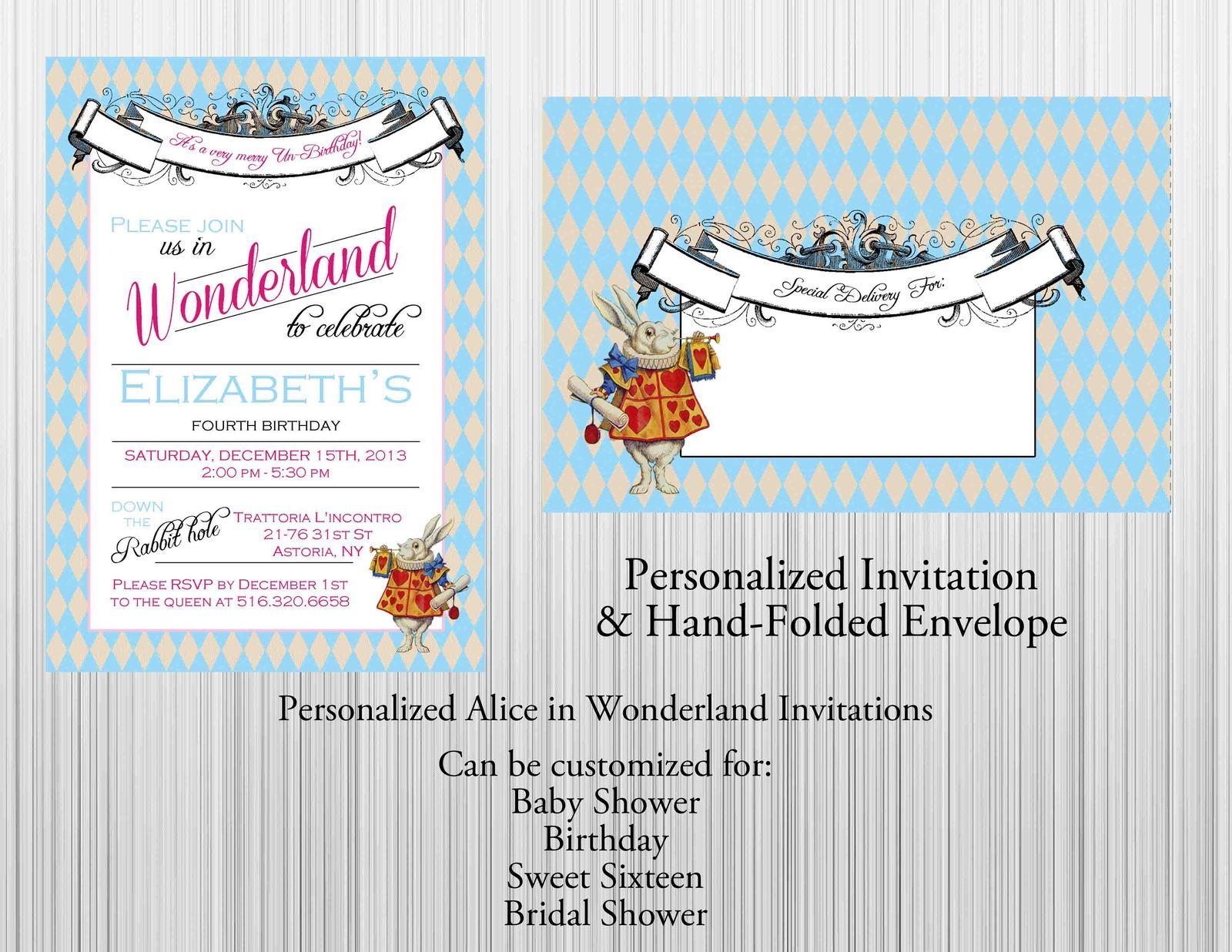 Alice in wonderland invitation set