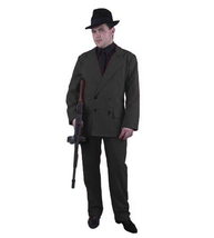 GANGSTER SUIT BLACK WITH WHITE PIN STRIPES HALLOWEEN COSTUME ADULT PLUS ... - $56.57