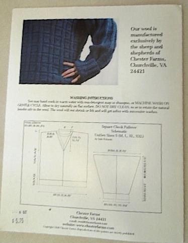 Cestari Square Checks Pullover Knit  Pattern - Copyright Year 2000 #5423