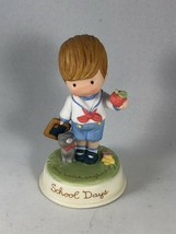 Vintage Avon Cute Little Boy Porcelain Figurine - Joan Walsh Anglund School Days - $11.88