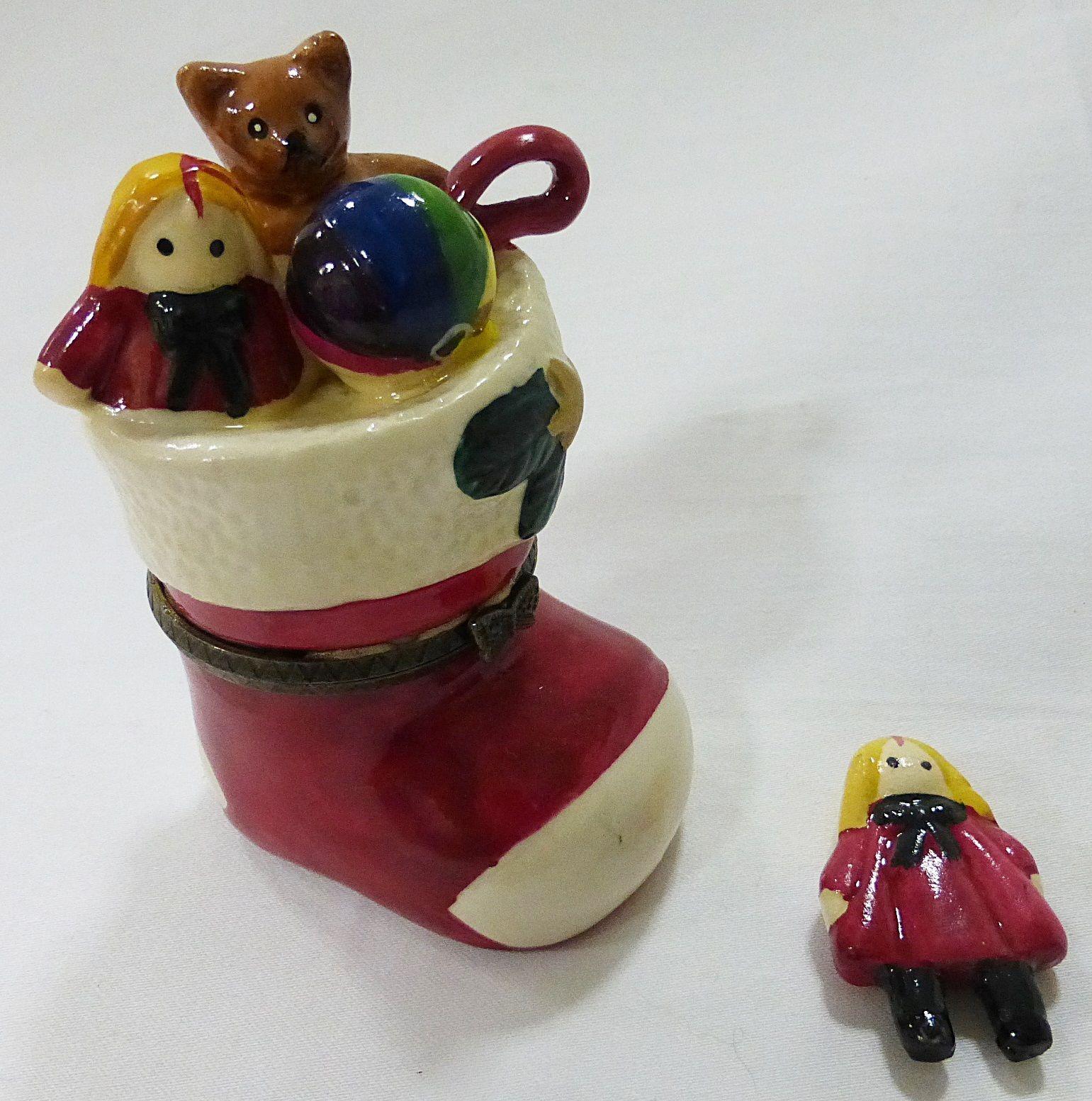 Santa boot trinket box christmas w/girl inside