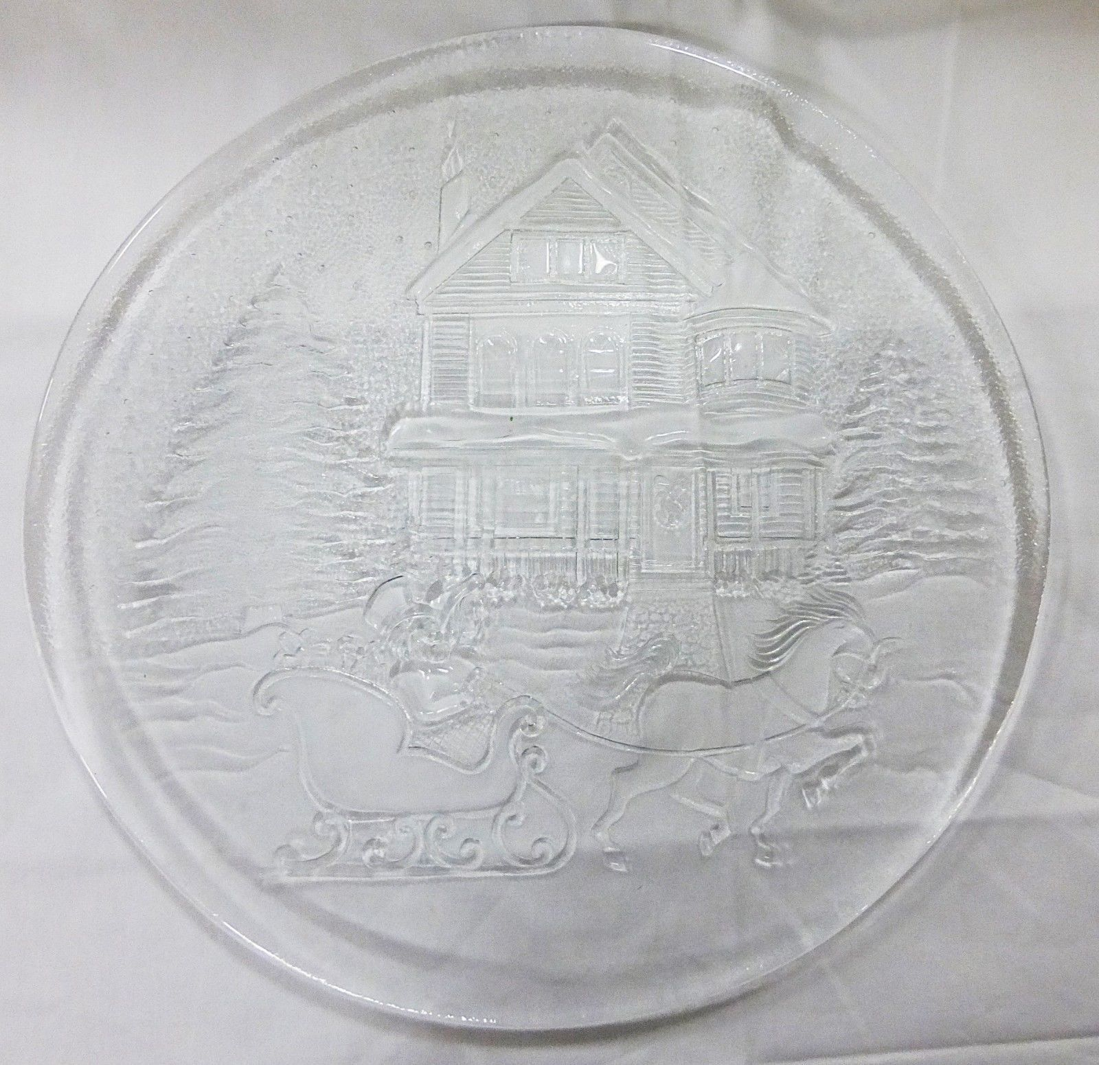 """Christmas clear glass platter 12.5"""", picture of house, tree, snow and carriage"""