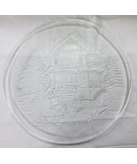 """Christmas clear glass platter 12.5"""", picture of house, tree, snow and ca... - $14.84"""