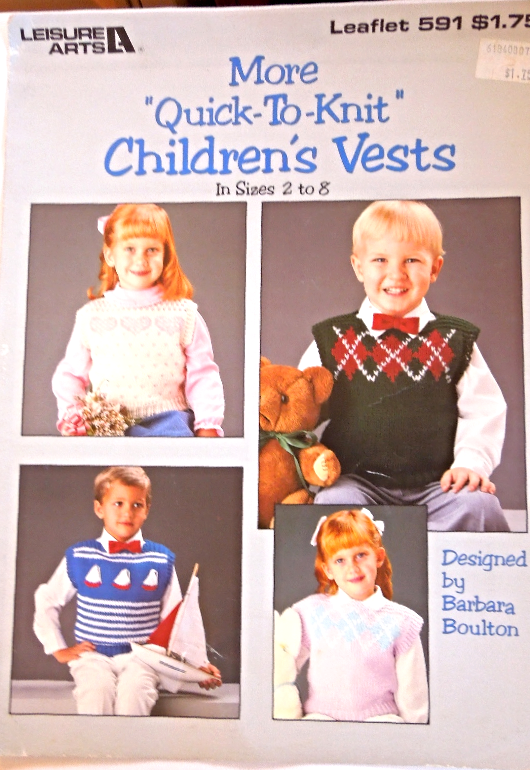 Vintage 1988 Knitting Patterns  Children's Vests sz 2-8 - by Leisure Arts #5068