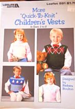 Vintage 1988 Knitting Patterns  Children's Vests sz 2-8 - by Leisure Art... - $3.49