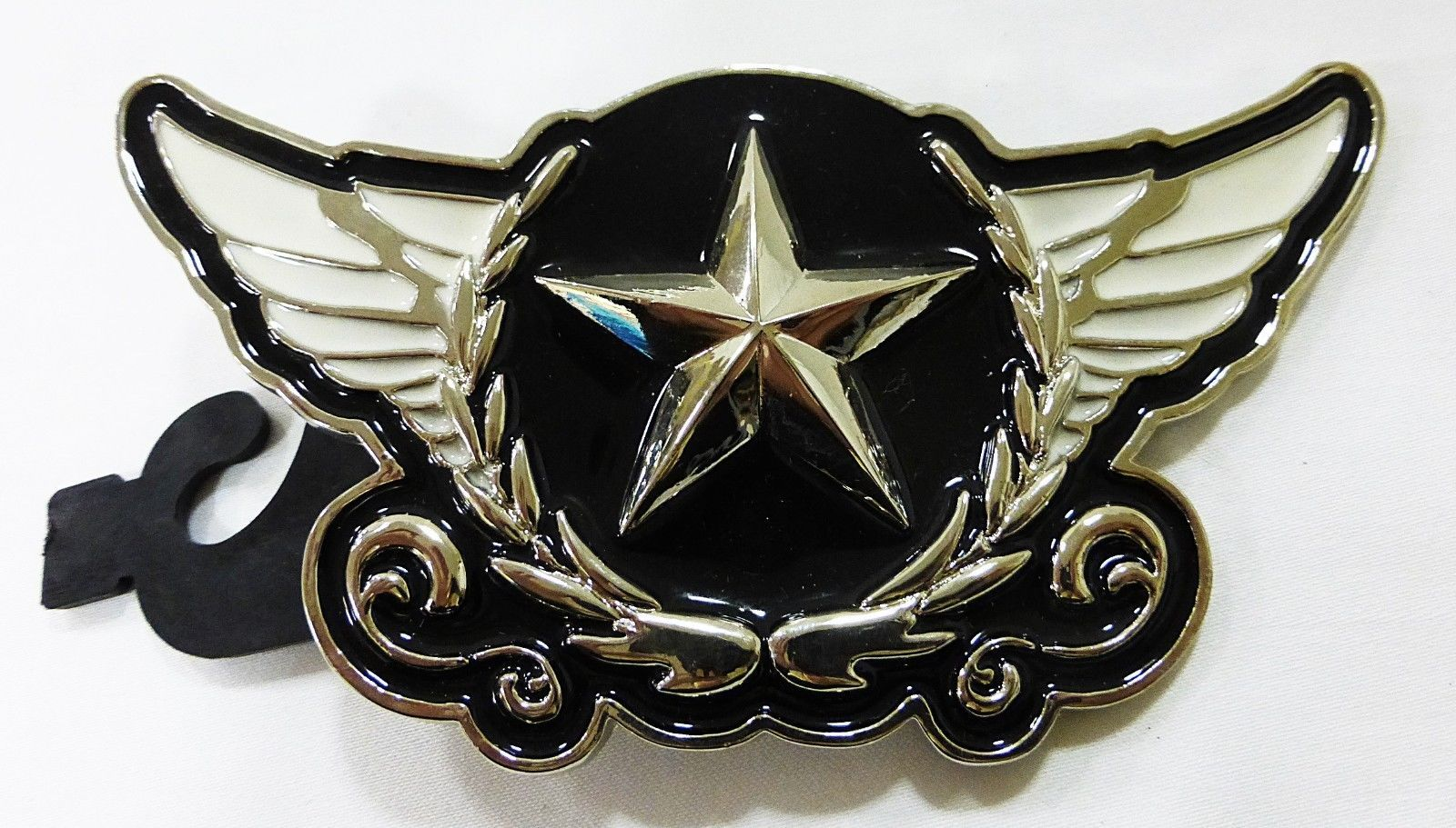 """Belt buckle with wings and star black/white 5"""" x 3"""" NEW"""