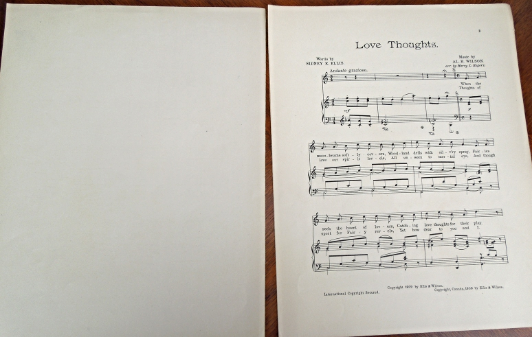 "Antique Sheet Music - 1909 - ""Love Thoughts"" #5584"