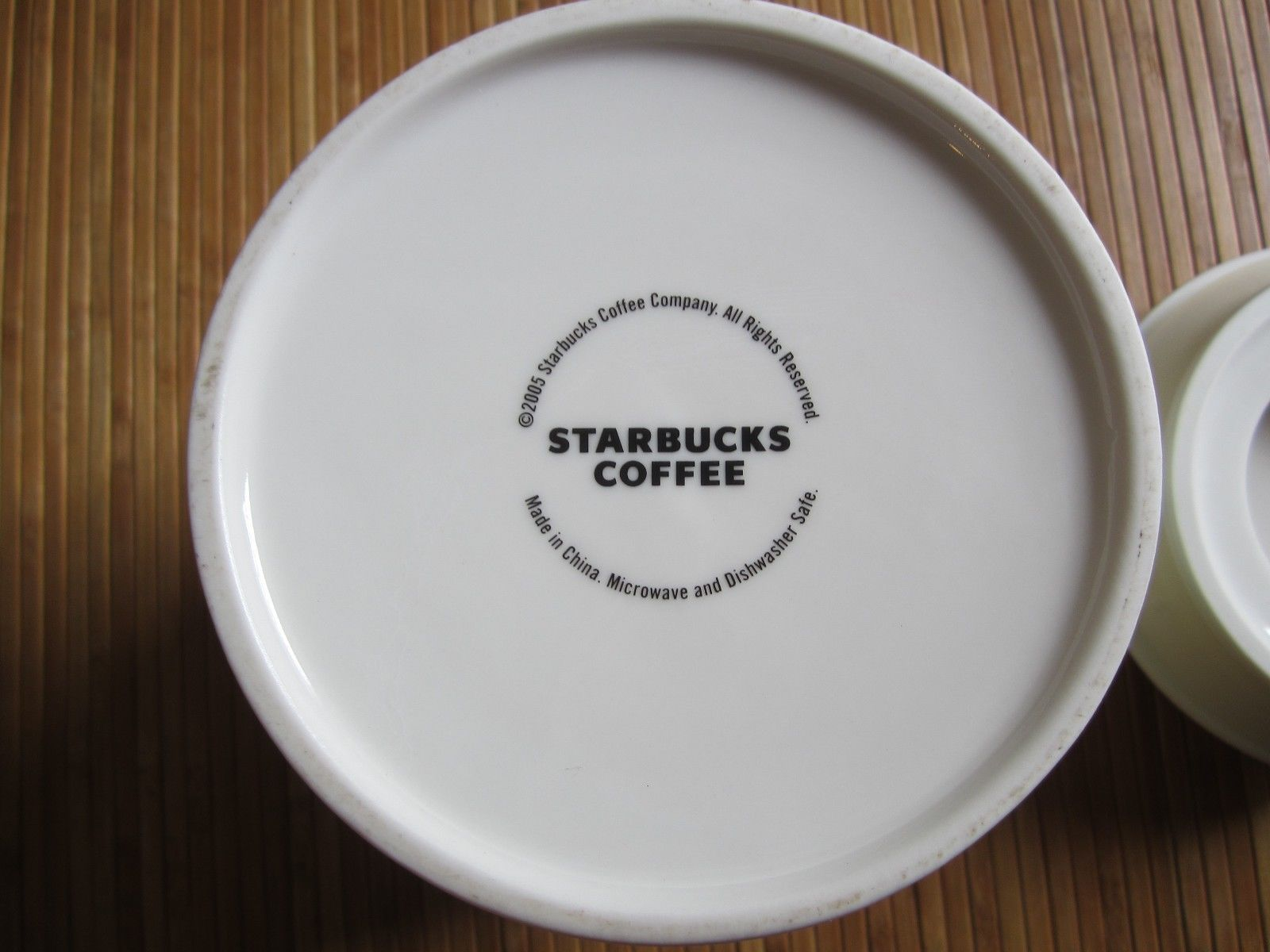 2005 Starbucks At Home Coffee Cookies Snacks Biscotti Canister Jar W/ Lid White