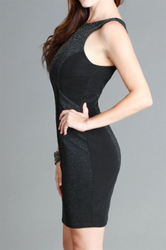 Black Sparkly Panel Dress Size Small, Medium or Large