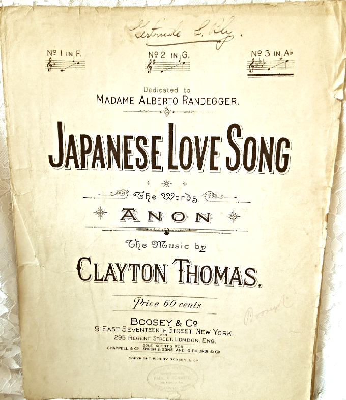 "Antique 1900 Sheet Music  ""Japanese Love Song""  Large Format #7385"