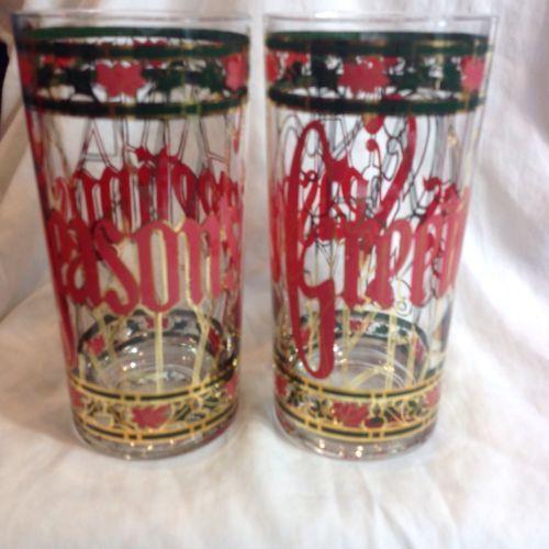 Culver Ltd Pink Seasons Greetings 2 Glasses 22k Gold Christmas Poinsettias Trim