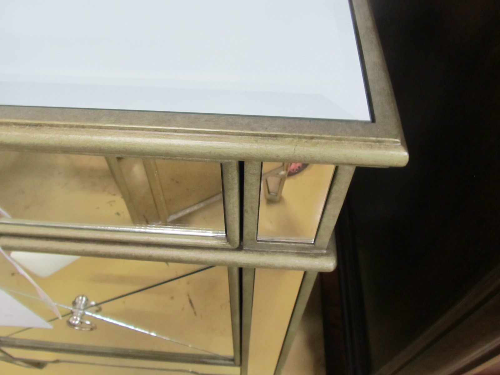 Horchow Bassett Mirror Iris Mirage Mirrored Chest Nightstand Silver Sage