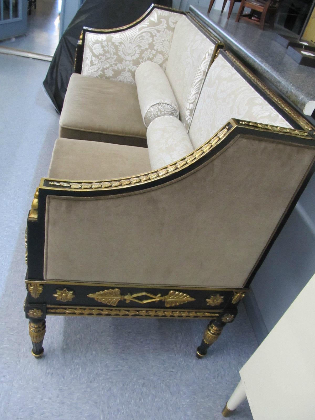 Maitland Smith Black Vendome Gilded Velvet Damask Sofa Loveseat Settee 4530-735