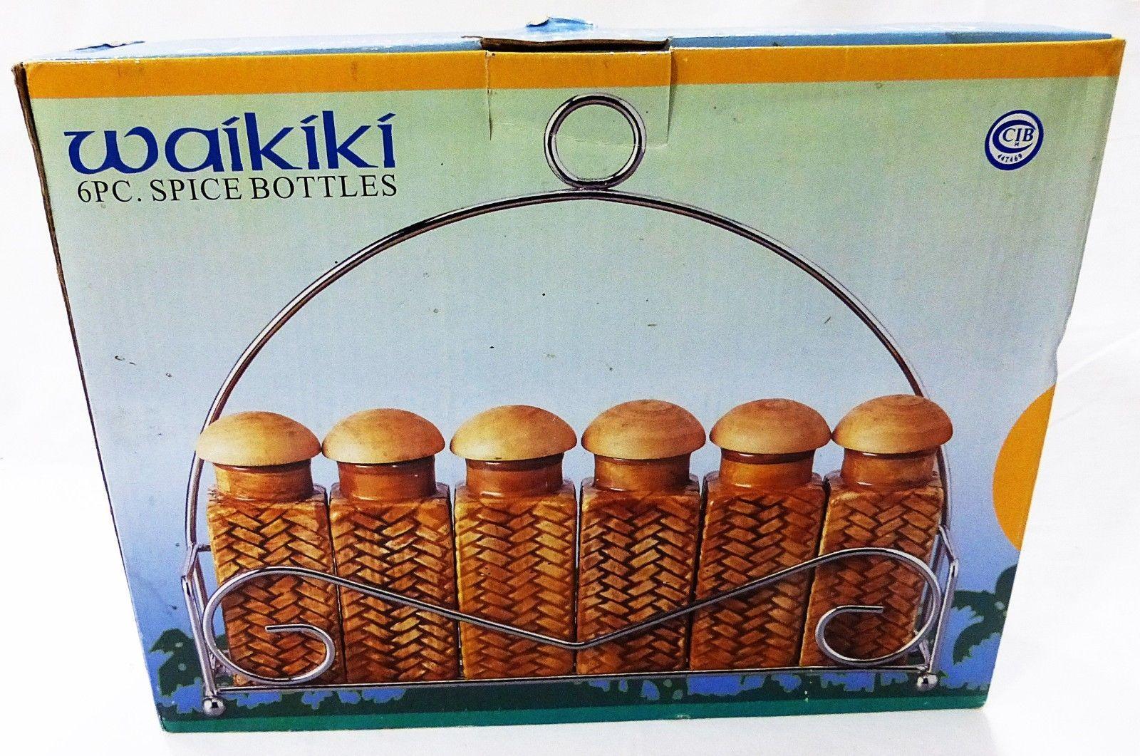 Century waikiki embossed bamboo wicker 6pc spice bottles brown rack jars set