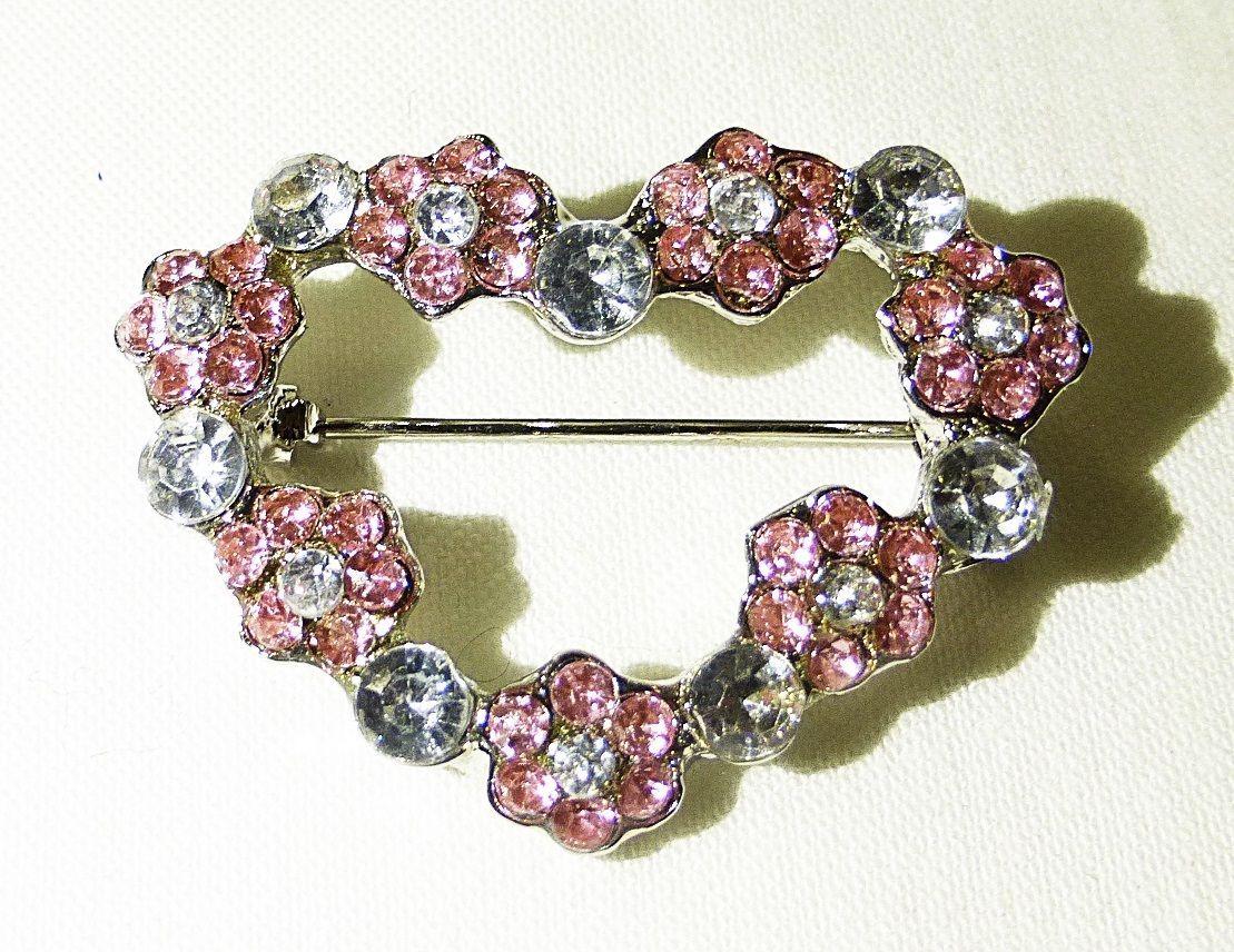 "Heart pin brooch pendant crystal fashion jewelry 1"" Rhinestone silver"