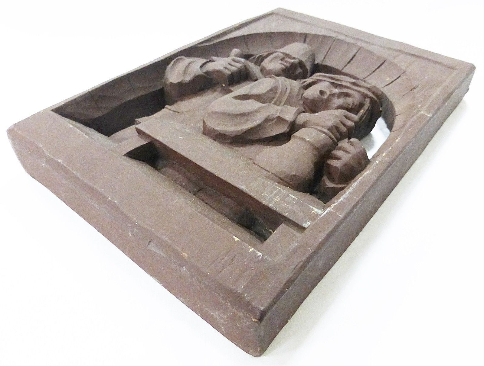 """Wood like carving of two working men  11.5"""" x 8.5"""" material unknow"""