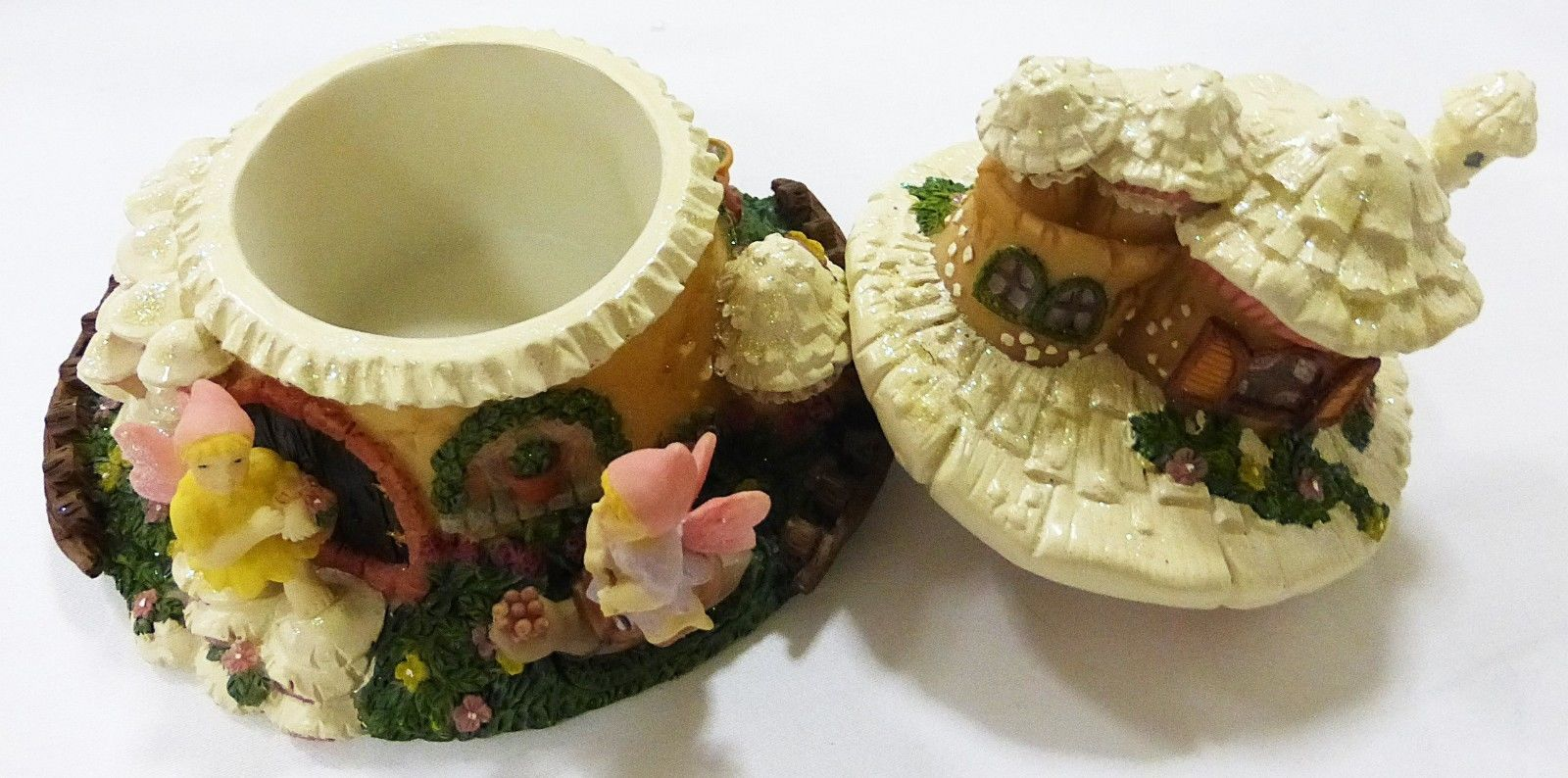 "DEZINE pixieville ""shopping"" hand painted jewelry box trinket box faeries NEW"