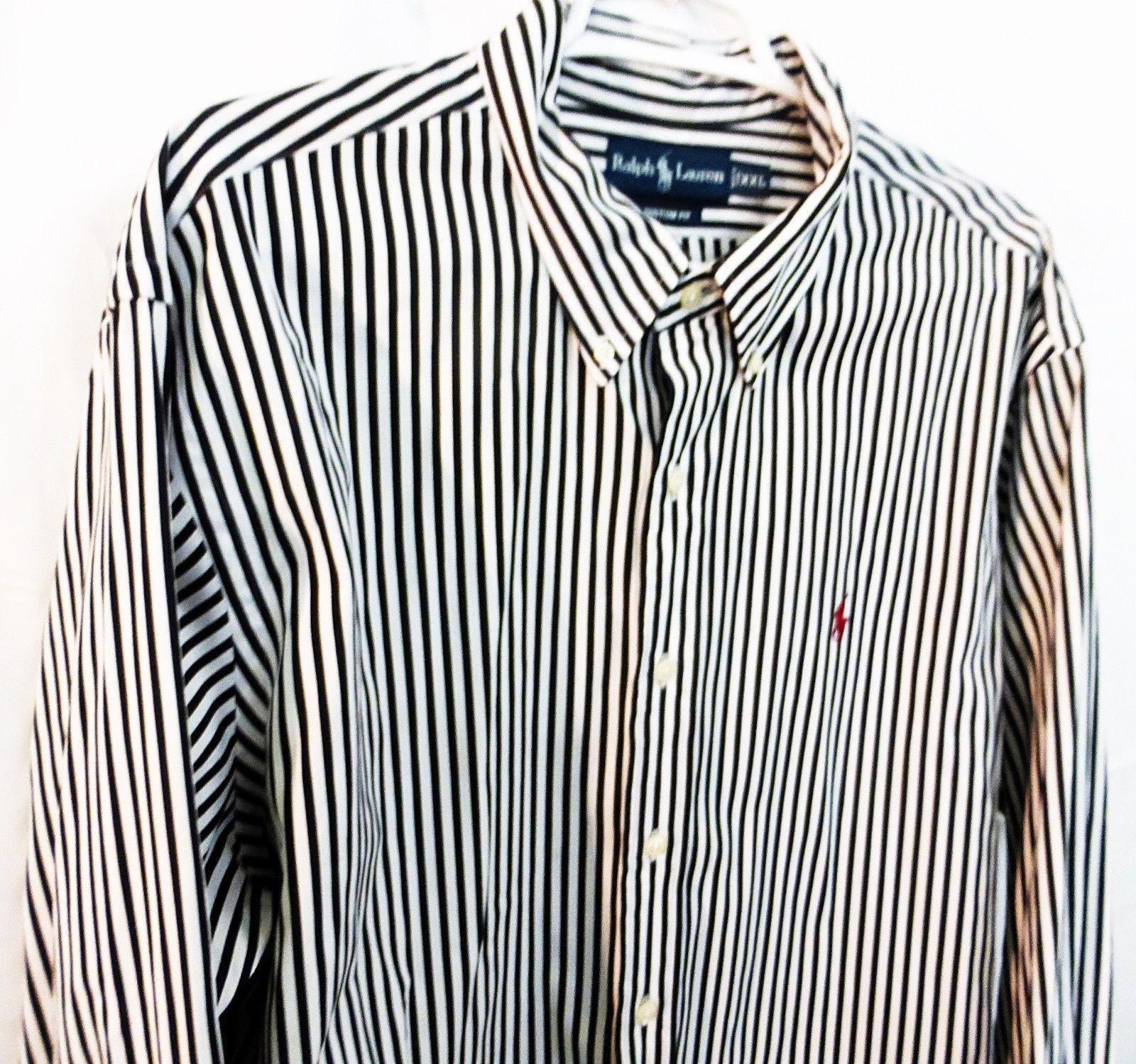 Ralph Lauren custom fit black strips button down shirt size 2XL/XXL
