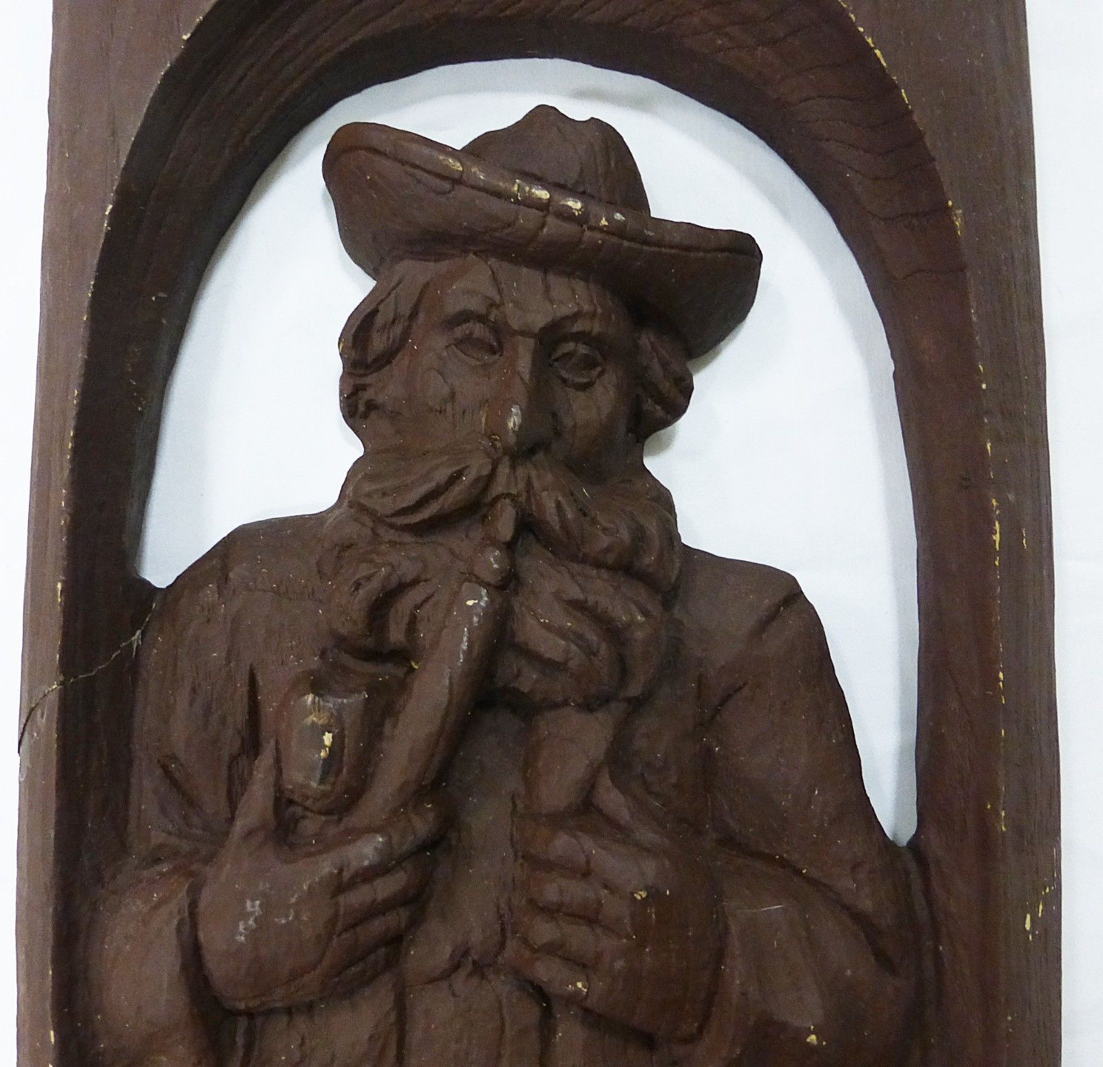 "Wood like carving picture man smoking pipe 15.5"" x  9"" material unknow"
