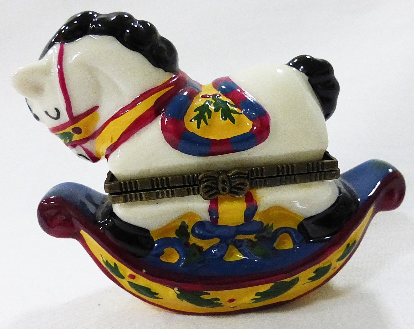 """Trinket box rocking horse with horse shoe inside 3 1/2"""" Long x 2 3/4"""" Tall"""