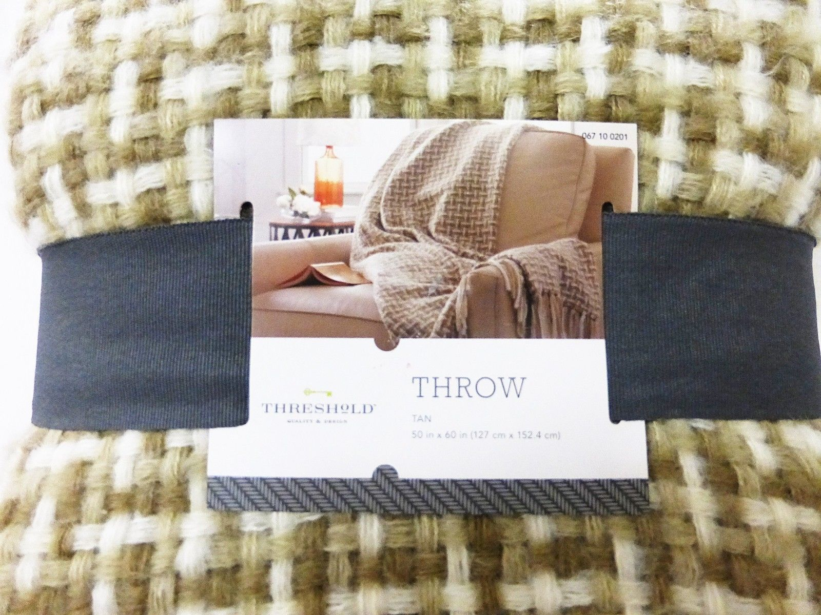 "Threshold Knit Throw tan 50"" X 60"" NEW"