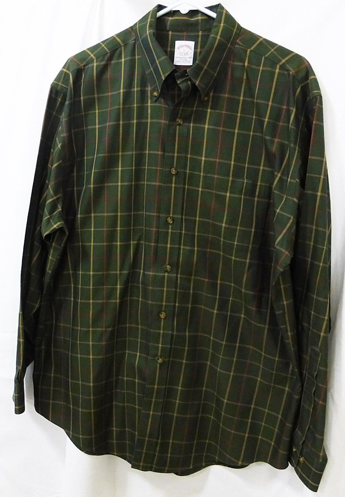 Brooks Brothers men long sleeve shirt L/Large button down olive plaid cotton
