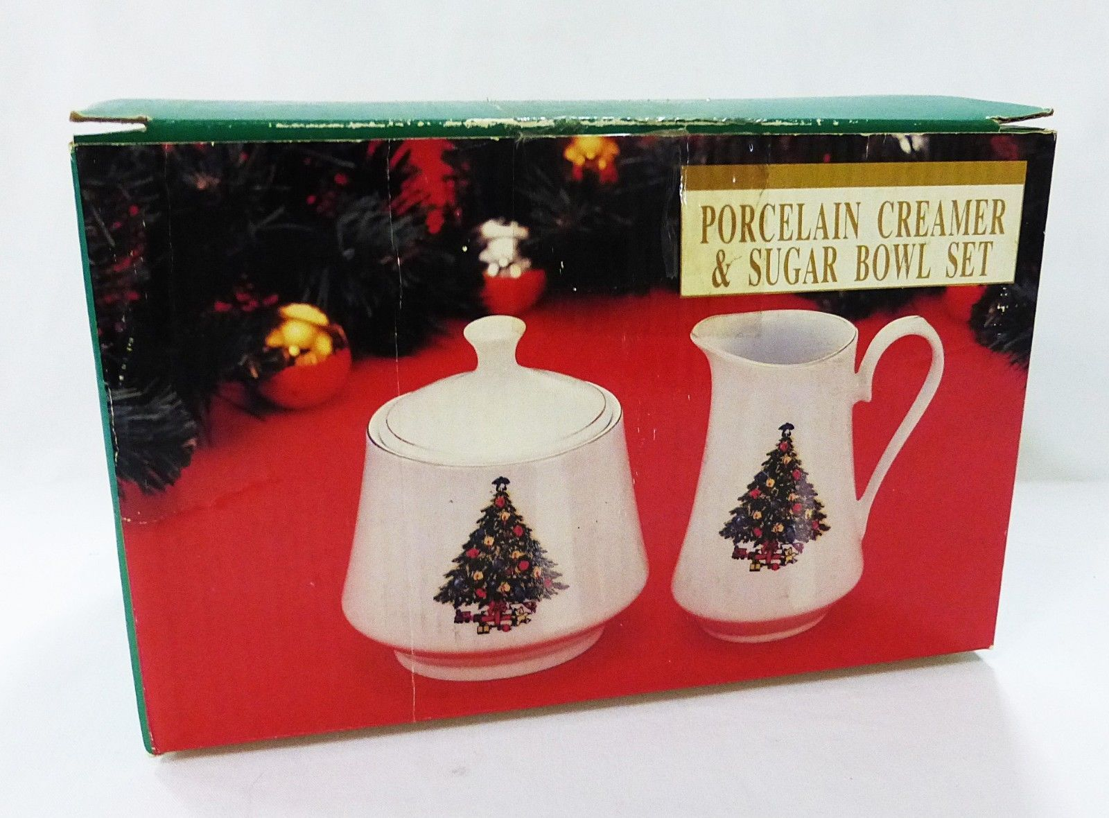 Creamer & sugar bowl set porcelain christmas tree
