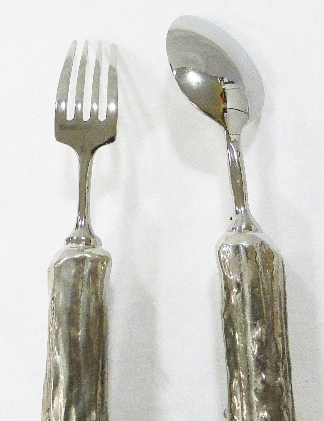 Vagabond House pewter antler handle flatware spoon and fork