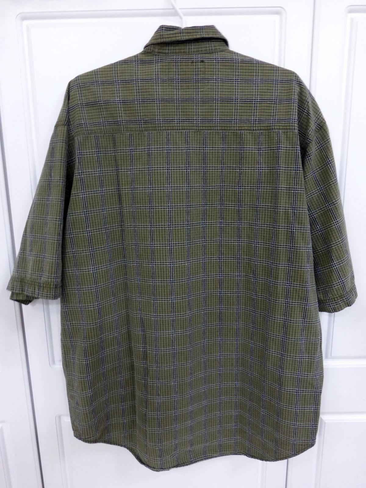 Levi's green plaid short sleeve shirt L/LARGE button 100% cotton