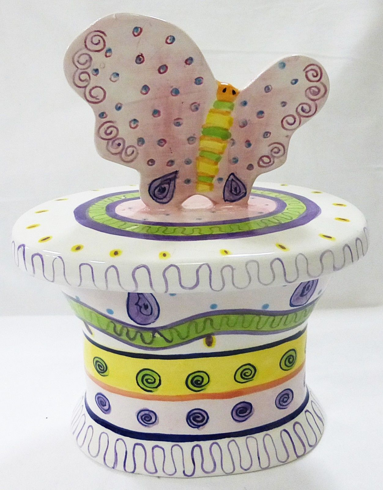 Empress Arts Ceramic butterfly covered box 1998