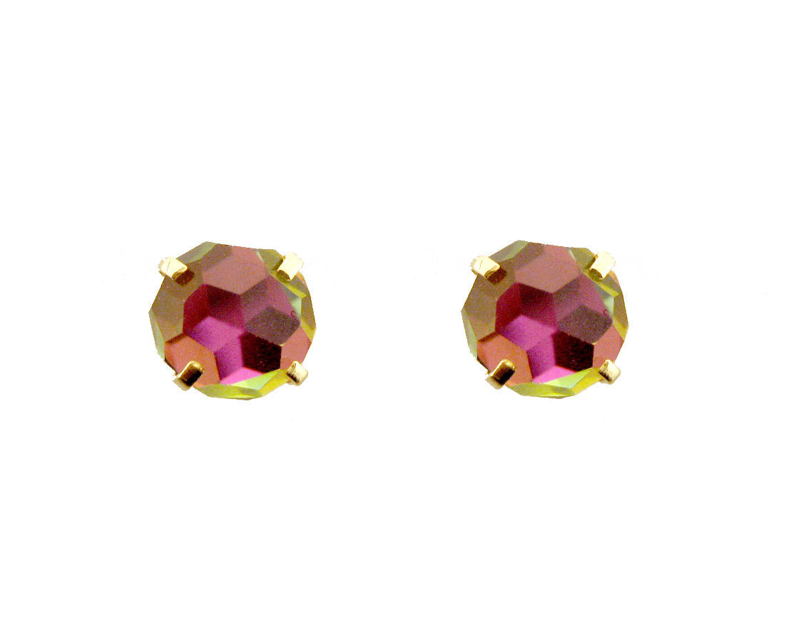 14k  Gold Earrings Round Rainbow Stud Screw Back  For All Ages  ON SALE 4039