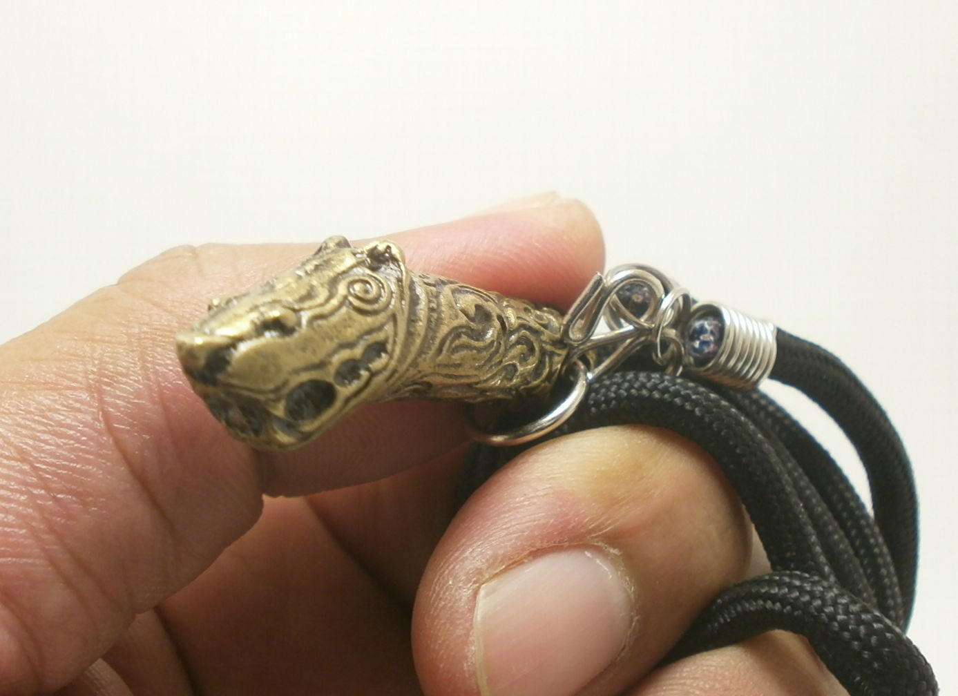 MAGIC TIGER LINGHAM THAI REAL RARE AMULET LIFE PROTECTION BRASS PENDANT NECKLACE