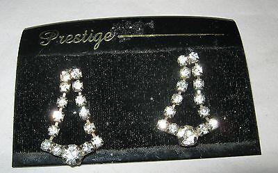 Vintage Prestige rhinestone pave silver tone dangle post pierced earrings NOS
