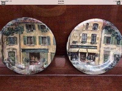 Fine China Decorative Plates French Cafes, 222 Fith, Set of Two