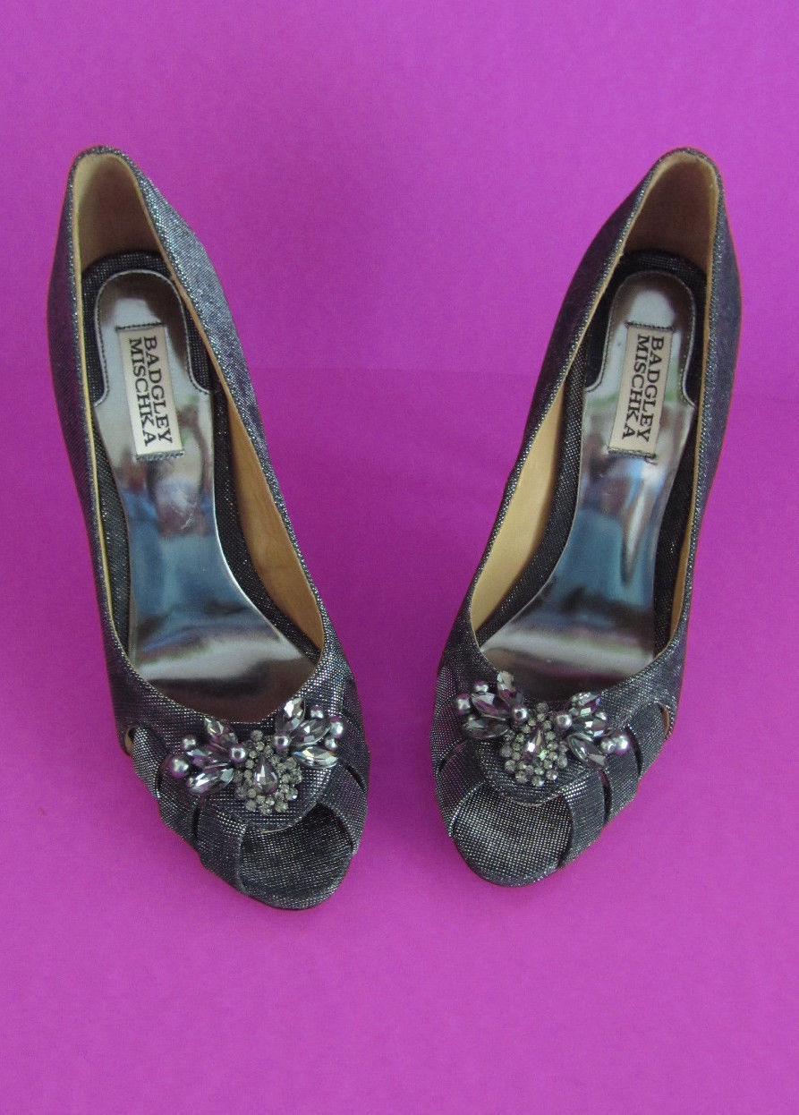 NIB $265 Badgley Mischka Monique Black Fabric Heels (US 8.5)