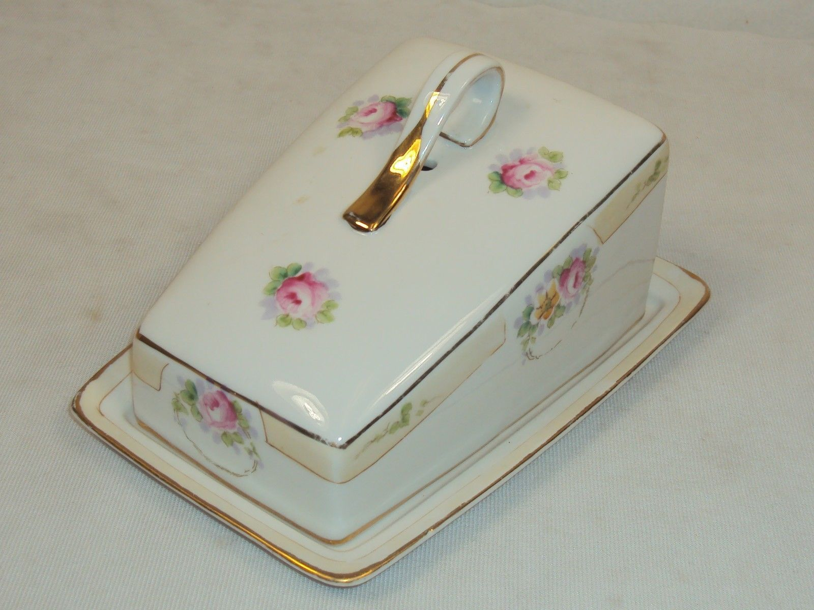 Vintage Nippon Cheese Keeper ~ Hand Painted Floral Design w/Gold Trim