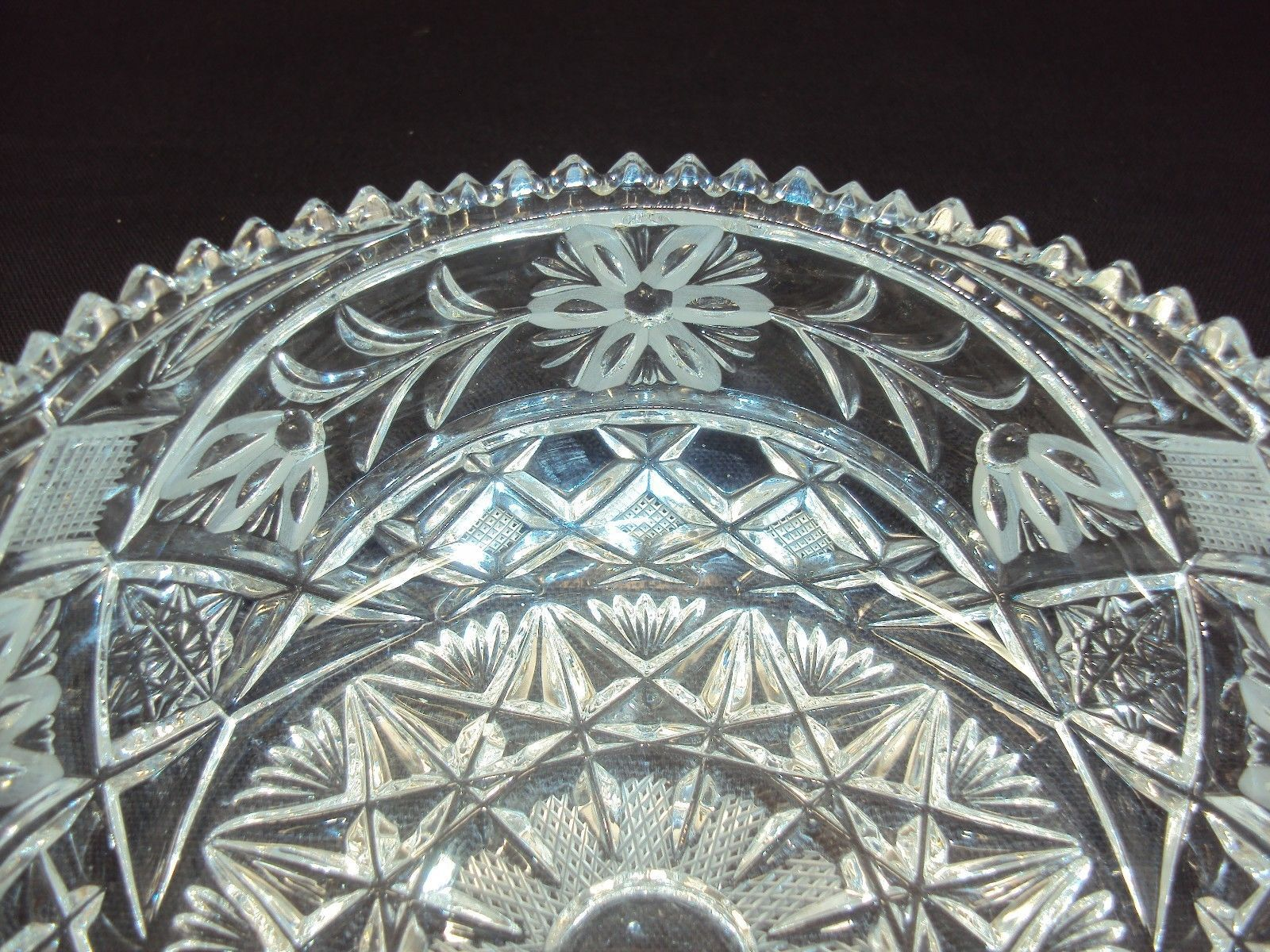 Cut Crystal Serving Bowls ~ Diamond Floral w/Sawtooth Rim ~ 1 Large, 1 Small