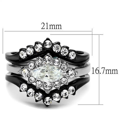 WOMEN'S BLACK STAINLESS STEEL 2 PRONG MARQUISE CUT CZ WEDDING RING SET SIZE 5-10