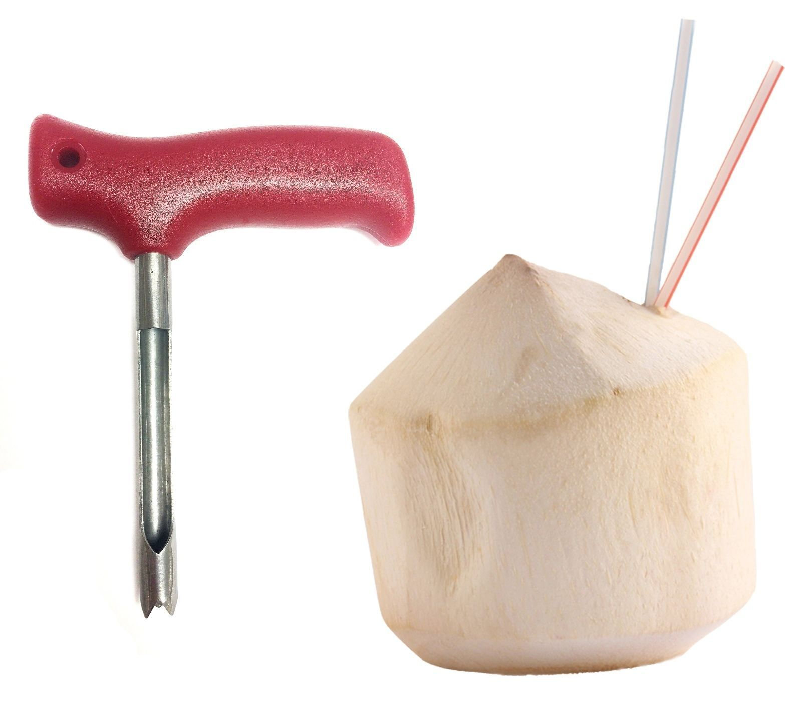 Red Coconut Opening Tool Coco push punch tap poke  hole extractor knife opener