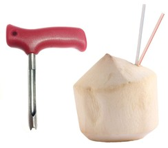 Red Coconut Opening Tool Coco push punch tap poke  hole extractor knife ... - $7.71