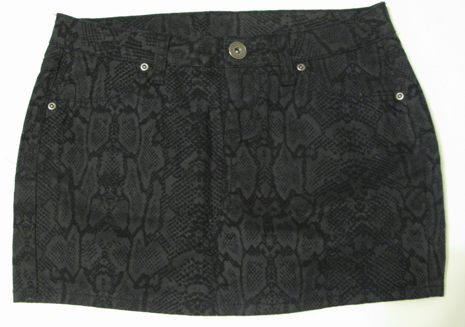 City Streets Printed Mini Skirt Size 3 Off Black Cotton blend