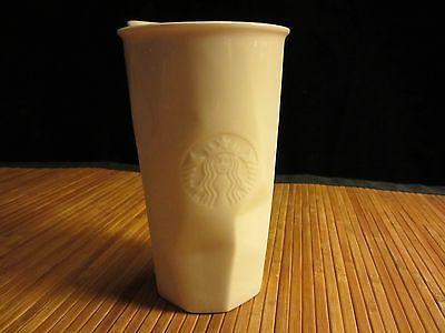 2013 Starbucks Diamond Cut Coffee Tea Cup Double Walled Ceramic Travel Mug 10 oz