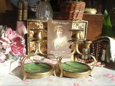 Faux-Guilloche Green & Ormolu Candlesticks