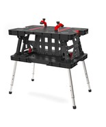 NEW Adjustable Leg Folding Work Table Surface Portable Workbench Carry Handle - $134.84