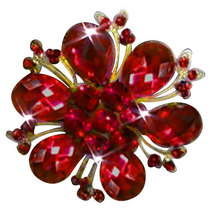 P ugster Vintage Red Drop Stone Crystal Rhinestone Open Petal Floral Flo... - $31.99